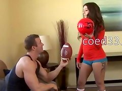 hot sporty chick fuck on coach