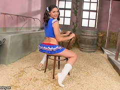 Charming brunette Zafira squirts and fingers her nice pussy