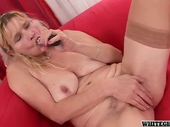 Busty blond mature milf sucks and fucks a hard one