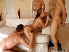 Sexy bitch Kylee gets surrounded by four hungry dudes