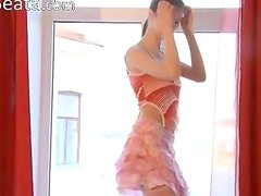 Dance and finger in pink stocking