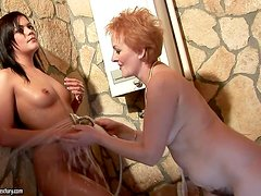 Mature lesbian Eodit gets her hairy pussy licked by Kelly Roshe