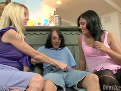 Angela Attison and Lexi Ryan give a blowjob to some nerd
