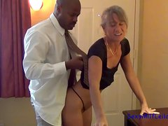 Smoking hot blond siren takes a huge black cock in her tight pussy
