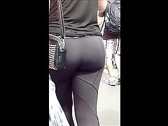 nice teen in black spandex