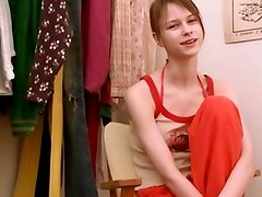 Beata teen posing in dressing room