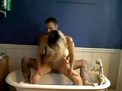 Hot sex older non-professional fur pie screwed doggy style in homemade bathtub