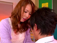 Eri Ouka riding cock in the classroom like crazy!