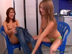 Two kinky brown-haired girls toy their virgin asses