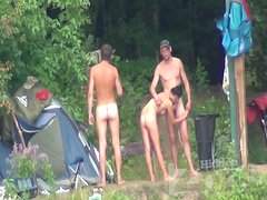 Naked camping with two men and a sexy brunette