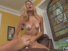 Hot blonde Eden stuffs her cunt with a king-size toy