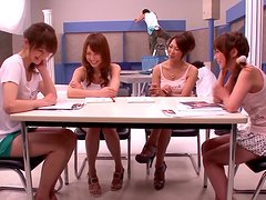 Hot japanese girls and guys suck and fuck together