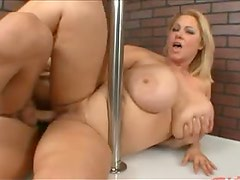 Fat chick Samantha fucked on stage