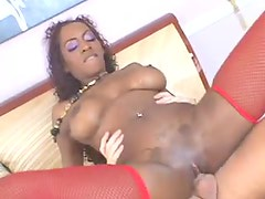 Fucked black girl in sexy red stockings