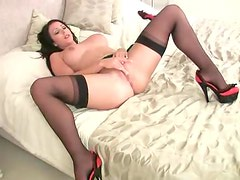 Heels and stockings girl masturbating solo