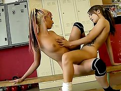 Young lesbian bitches Leyla Black, Mira Shine and their girlfriend Sophie Lynx