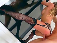 Crazy wild Rachel Roxxx can not resist and starts fucking with her lover Ryan Madison at the windowsill