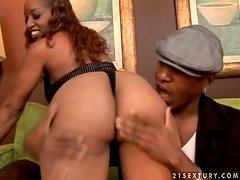 Hot Black girl with big ass has rough sex on a sofa