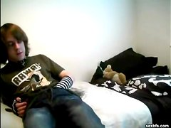 Emo gay boy strips and fucks ass with a toy