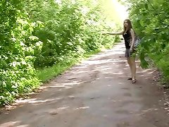 Lone hitchhiker gangbanged outdoors