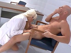 Ultra stunning and buxom Doctor Rikki Six can cure any disease with her modern ways of therapy