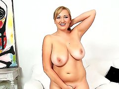 Beautiful chick Sara Willis shows her huge natural boobs and trimmed pussy
