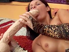 Christina loves to suck that nice rubber dick