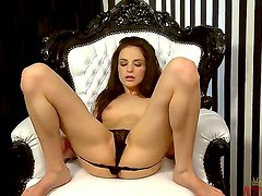 Ann Marie La Sante spreads her beautiful legs and stimulates her ultra wet pussy