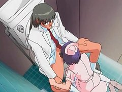 Anime nurse sucks a dick from her knees