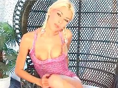 Skinny blonde bunny strips solo for you