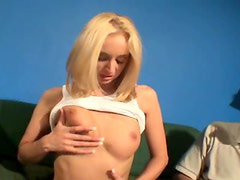 Slim hot blonde must grope her sexy tits
