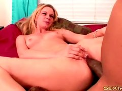 Blonde with chick cock of a black guy inside her