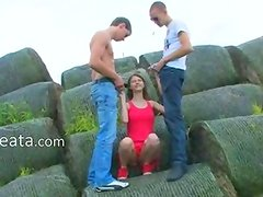 Amazing double fuck outside with coed