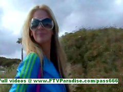 Suzanna sensual blonde woman flashing tits and ass and pussy on the beach