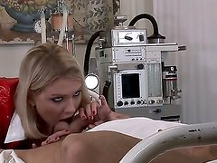 Naughty nurse Lucy Heart is reviving patients libido by giving him wild blowjob and cock riding