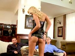 Blonde babe Ivana Sugar gets seduced while attennding to porn casting