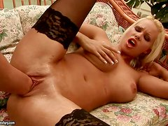 Sexy Kinga toys her pussy and then gets fisted by a guy