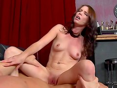 Petite brunette Jessi Palmer being drilled in her tight snatch