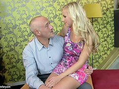 Gorgeous Blonde Babe Fucks Geezer
