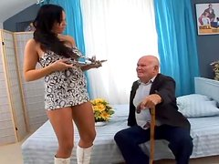 Nasty girl fucks a grandfather after sucking his dick so many times