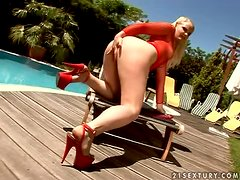 Angel Spice the horny blonde gets threesomed by the pool