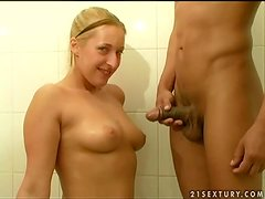 Mercy the hot blonde chick gives great POV blowjob