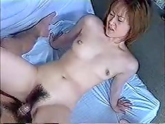 Japanese girl fucked in the hairy pussy