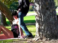 Allison Tyler is getting dick in her mouth in the park