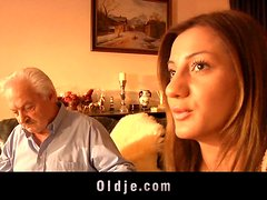 Old man and young horny girl in Romantic fuck