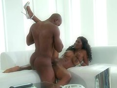 Curly ebony Nyomi Banxxx being fucked in her mouth