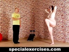 Hard naked training for submissive lady