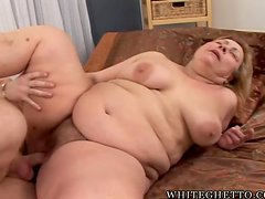 Big Fat milf gets out of shower and enjoys that hard cock