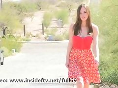 Natalie _ Amateur babe flashing her big boobs in public then playing with them