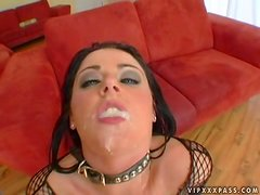 British Slut Sophie Dee Double Penetrated while Sucking Cock